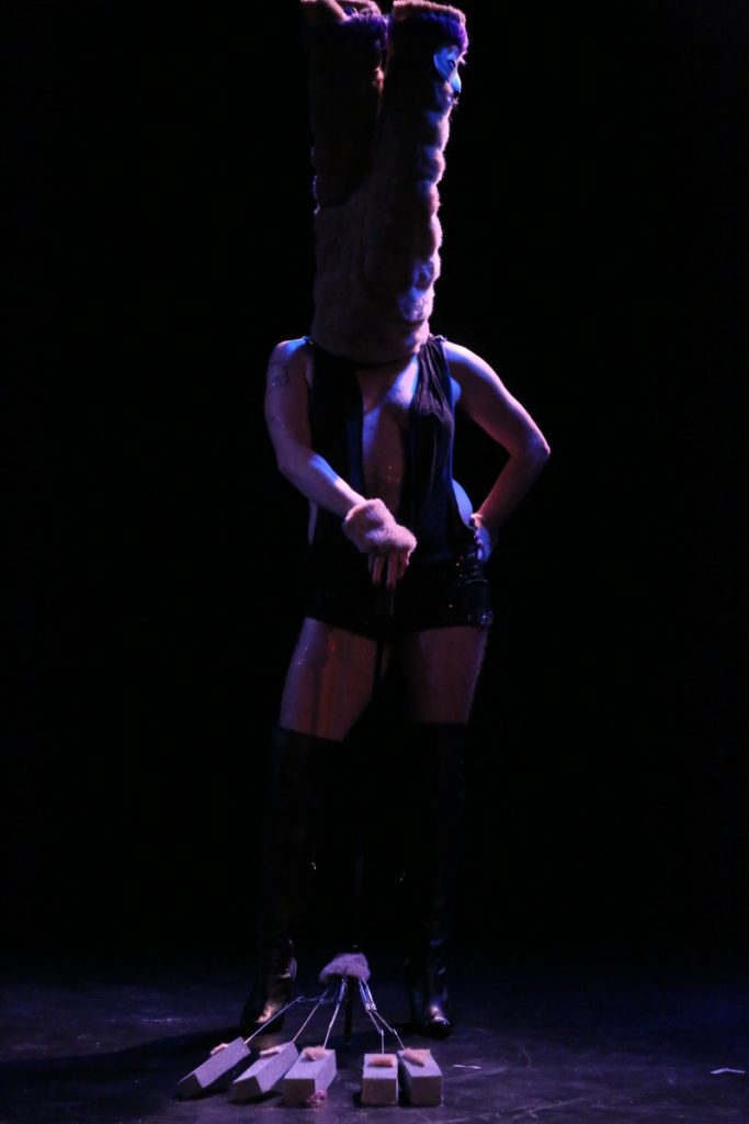 Sensual Solitude Performance puppet and operator in black box